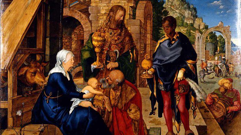 Durer - obraz - Pokłon Trzech Króli - fragment