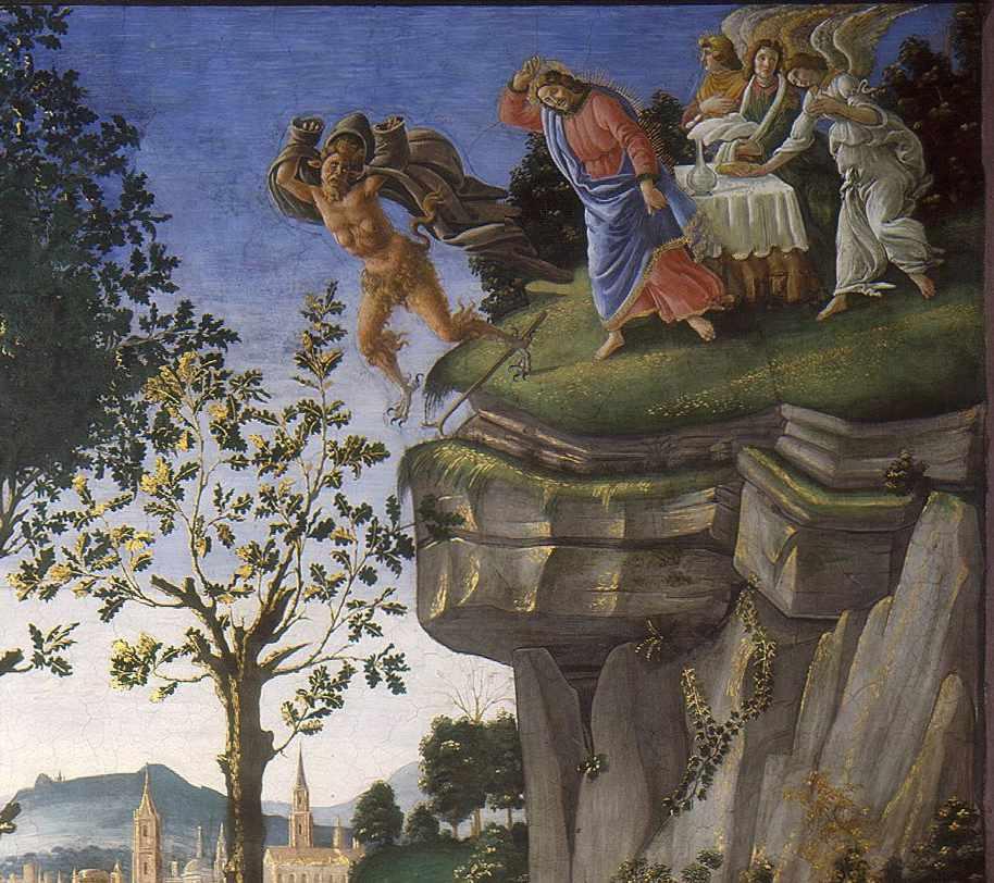 Botticelli - Ofiara trędowatego lub Kuszenie Chrystusa - fragment 2