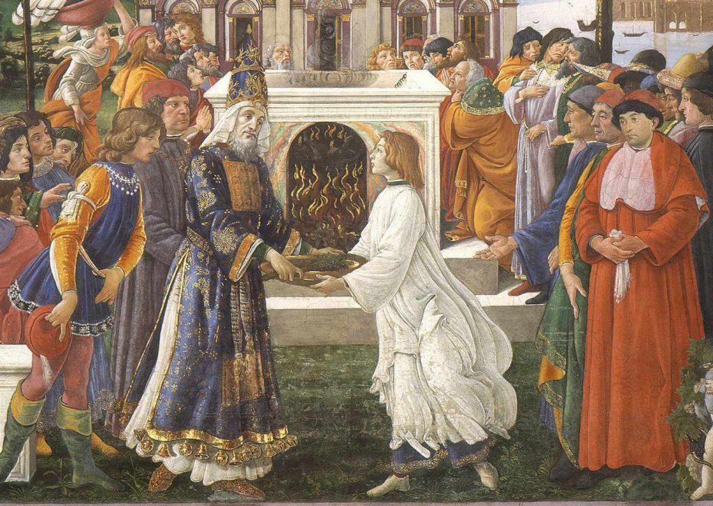 Botticelli - Ofiara trędowatego lub Kuszenie Chrystusa - fragment