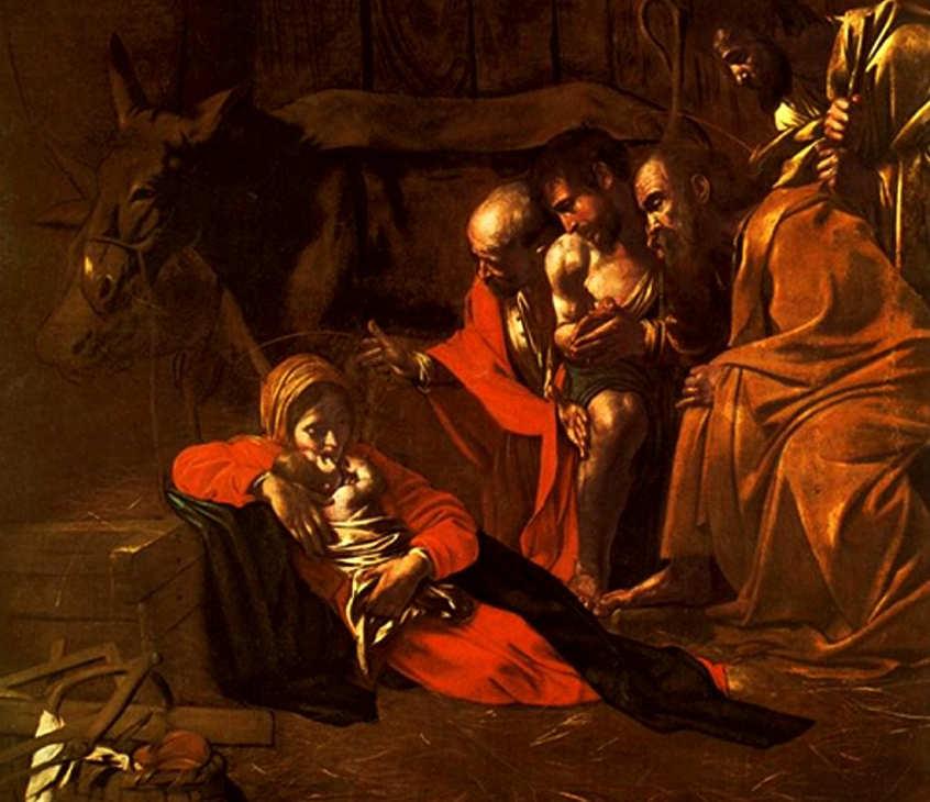 Caravaggio - Pokłon pasterzy - 1609 - fragment