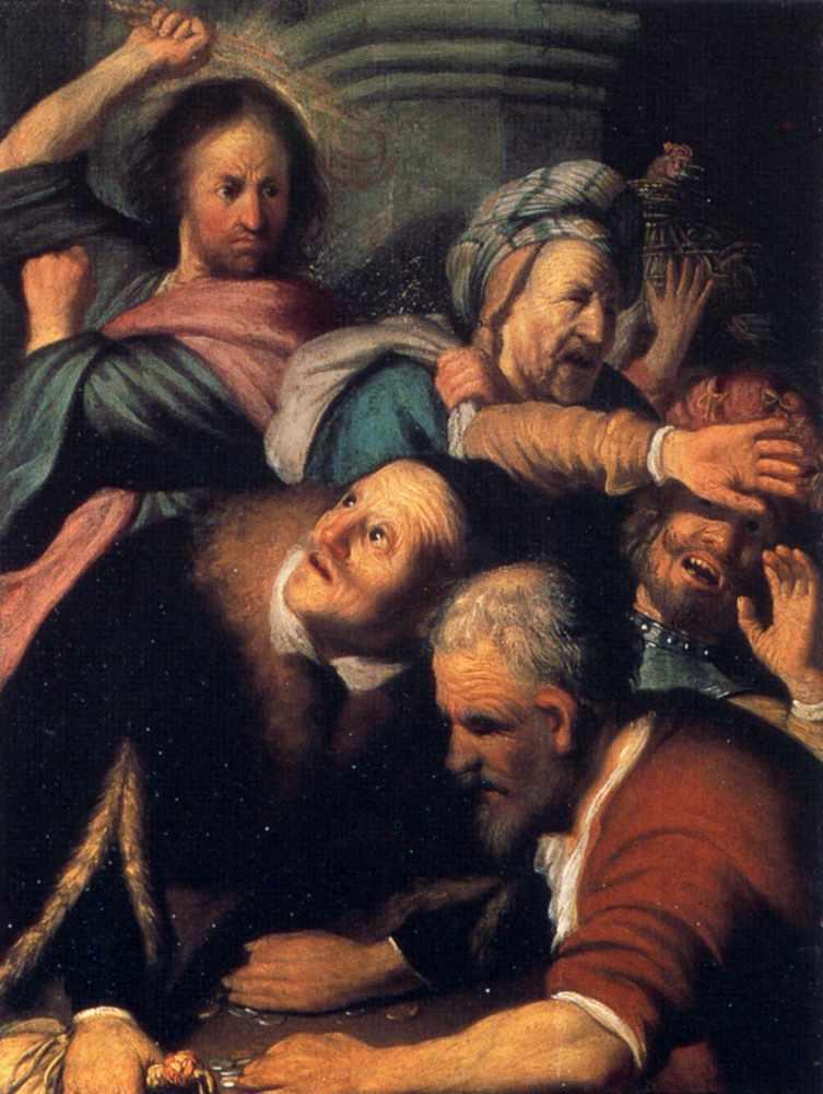 Rembrandt - obraz - Chrystus wypędza przekupniów z świątyni