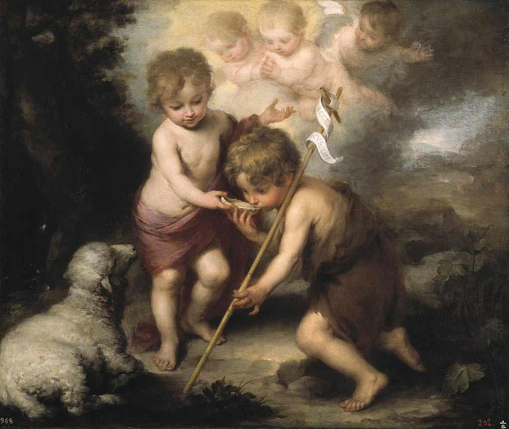 Murillo - Dziecię Jezus poi z muszelki Jana Chrzciciela