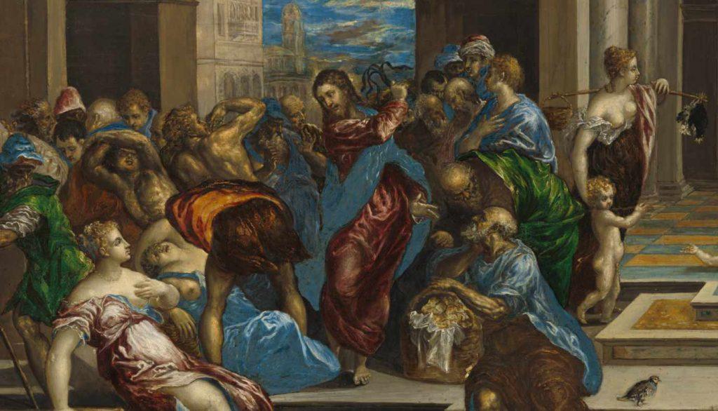 El Greco - Wypędzenie przekupniów z świątyni - fragment