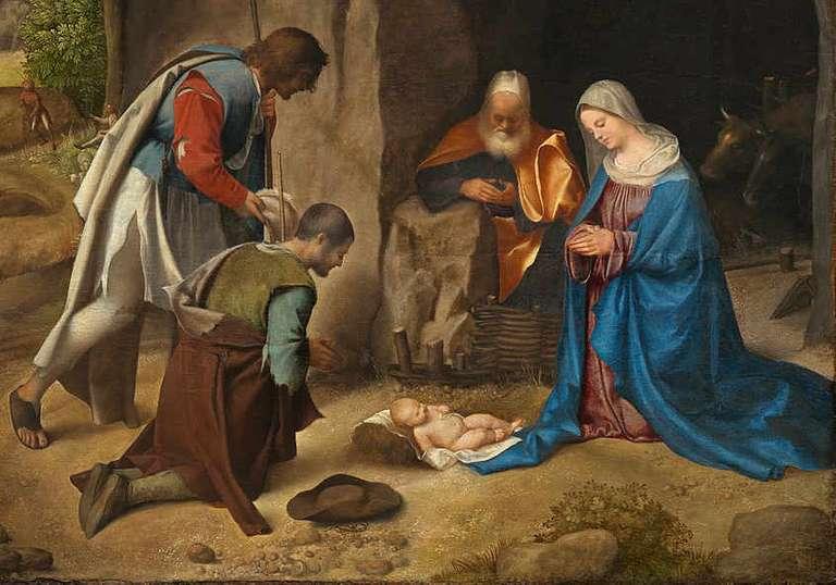 Giorgione - Pokłon pasterzy - detal 1