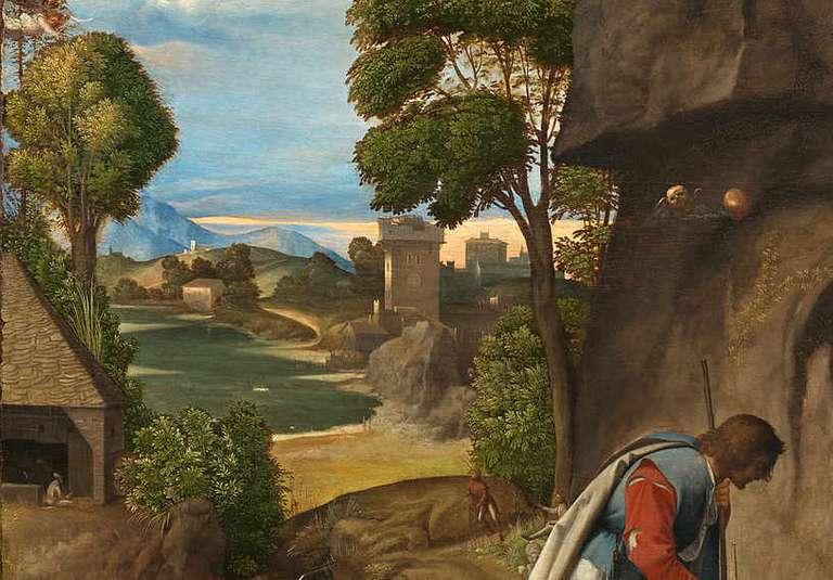 Giorgione - Pokłon pasterzy - detal