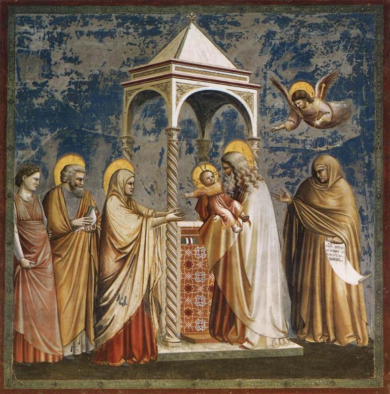 Fresk Giotto - Ofiarowanie Chrystusa w świątyni