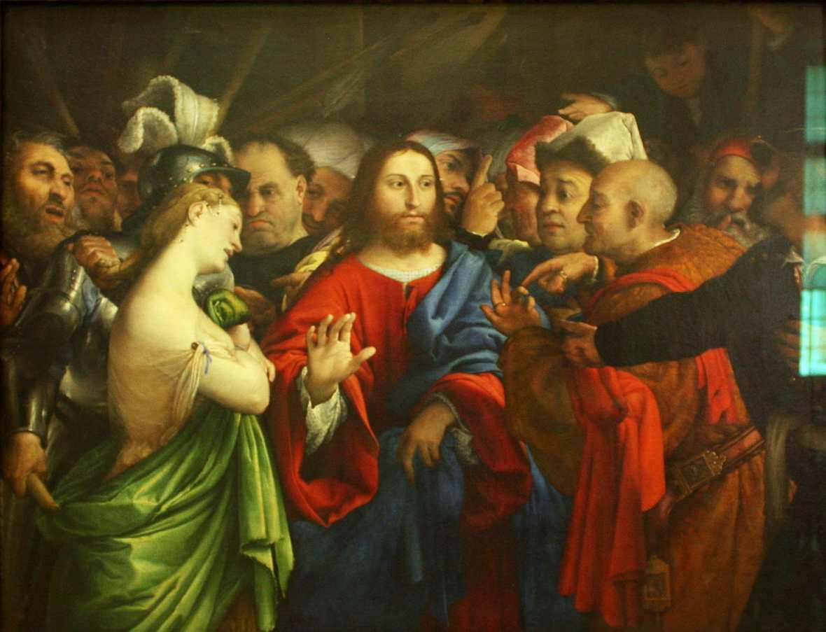 Obraz Lorenzo Lotto - Jawnogrzesznica