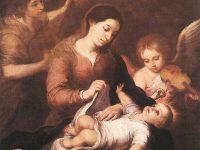Maryja z dzieciątkiem i grającymi aniołami