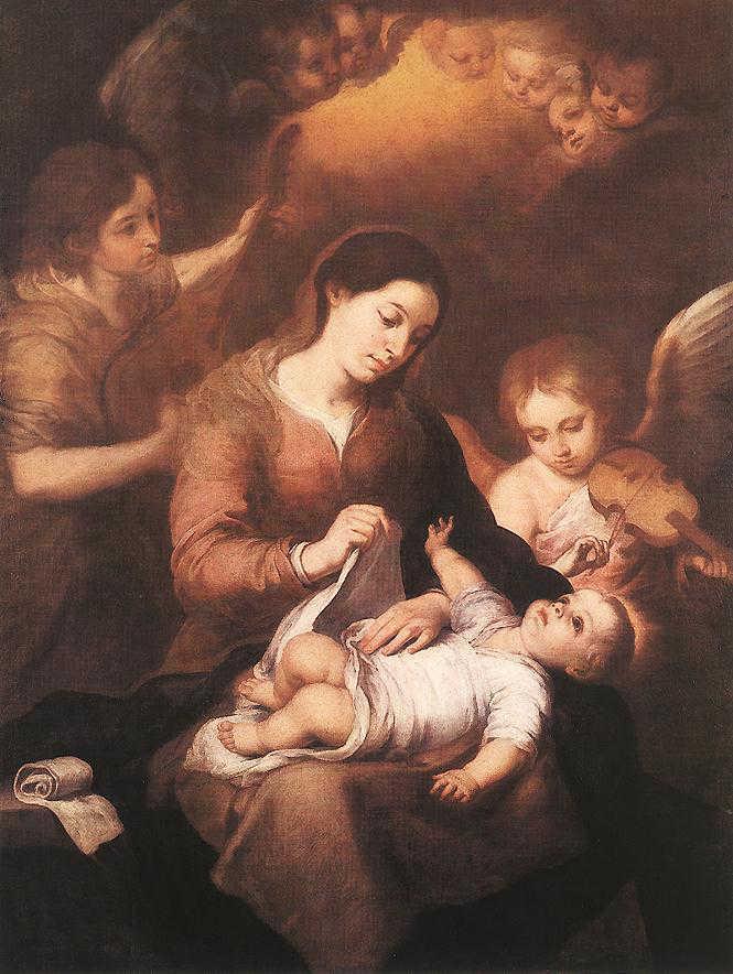 Obraz Murillo - Maryja z dzieciątkiem i grającymi aniołami