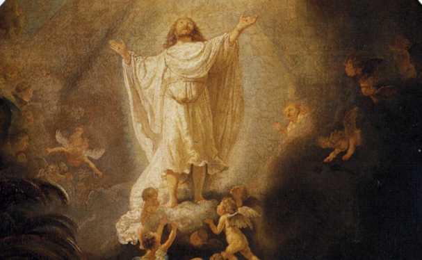 Obraz Rembrandta - Wniebowstąpienie - fragment