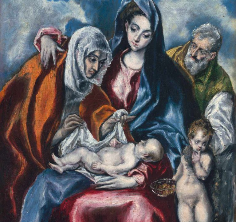 El Greco - obraz - Święta Rodzina ze św. Anną i Janem Chrzcicielem - fragment