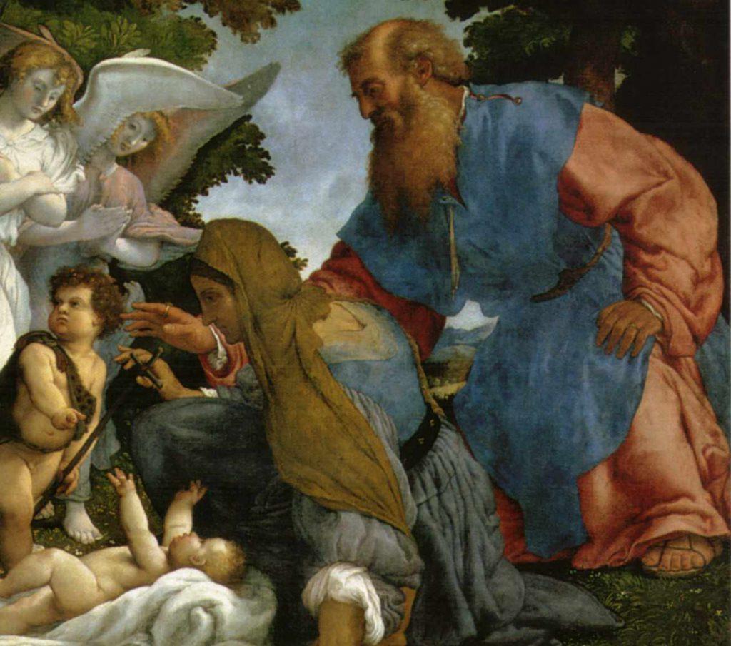 Obraz Lotto - Święta Rodzina z aniołami i świętymi - fragment
