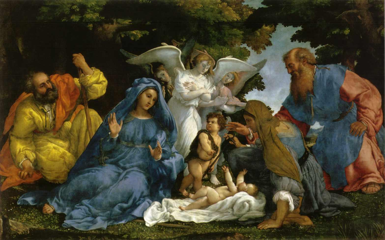 Obraz Lorenzo Lotto - Święta Rodzina z Aniołami i Świętymi