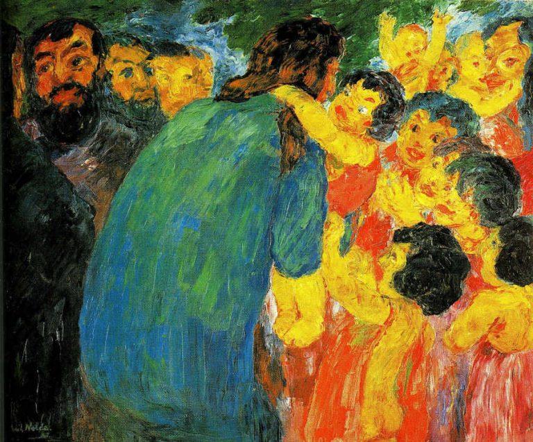 Emil Nolde - obraz - Chrystus wśród dzieci