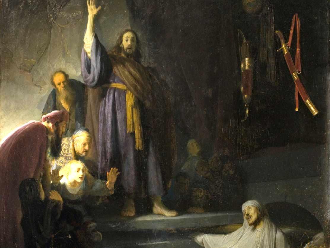 Wskrzeszenie Łazarza - obraz Rembrandta - fragment