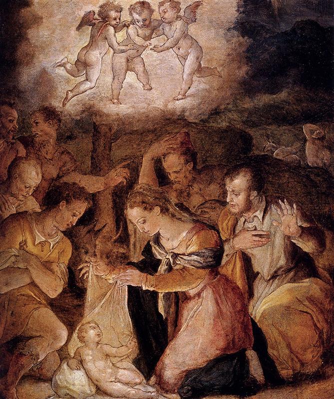 Vasari - Narodzenie, pokłon pasterzy